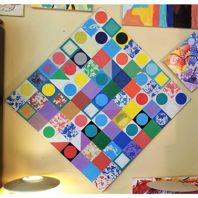 Large Vibrant Memphis Style Color Tile Diagonal Painting For Sale - Image 10 of 10