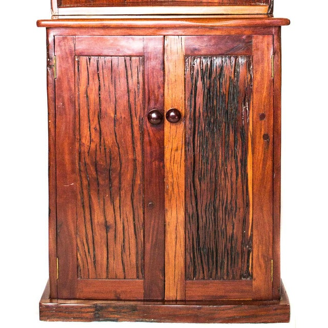 Antique Railroad Hand Carved Red Jarrah Wood Corner Bookcase - Image 8 of 13