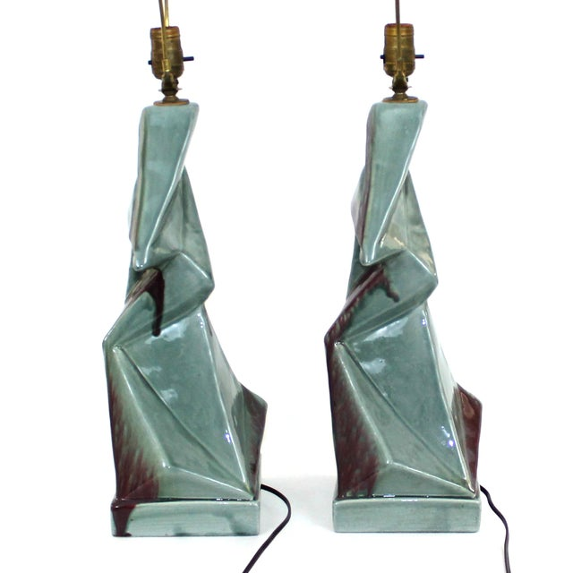 1950s Modern Cubist Ceramic Lamps - A Pair - Image 8 of 10