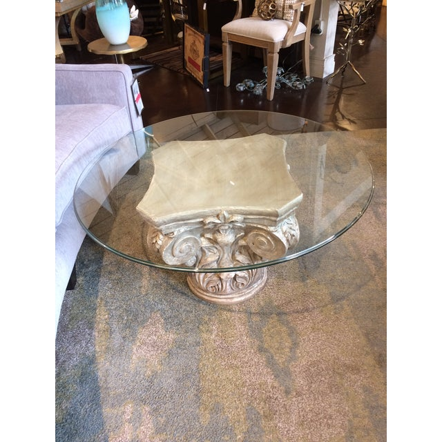 Fiberglass Parisian Capitol Round Glass Table For Sale - Image 7 of 7
