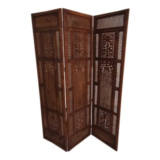 Midcentury Honeycomb Wood Screen Carved Panel Room Divider For Sale