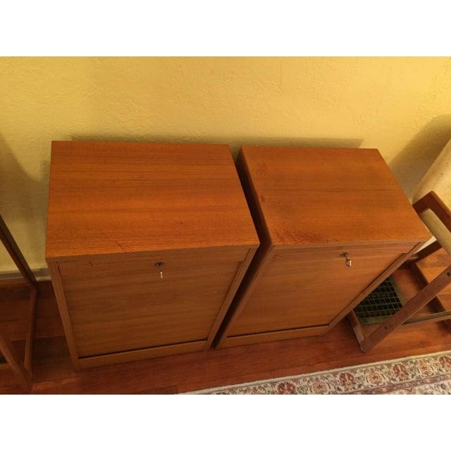Teak Danish Modern Teak Tambour Doors Filing Cabinets - A Pair For Sale - Image 7 of 10