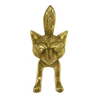 Solid Cast Brass Fox Door Knocker For Sale