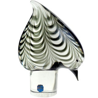Cenedese Murano Signed 1976 Pulled Feather Italian Art Glass Bird Sculpture For Sale