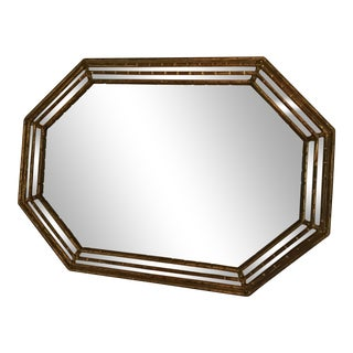 1960S Hollywood Regency LaBarge Gilt Gold Faux Bamboo Mirror For Sale