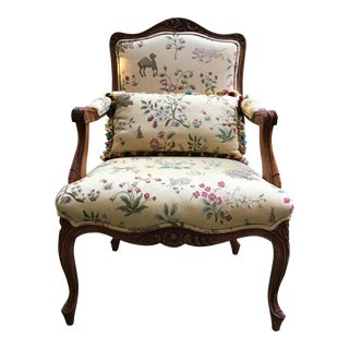 Baker Furniture Bergere Chair Scalamandre Upholstery For Sale