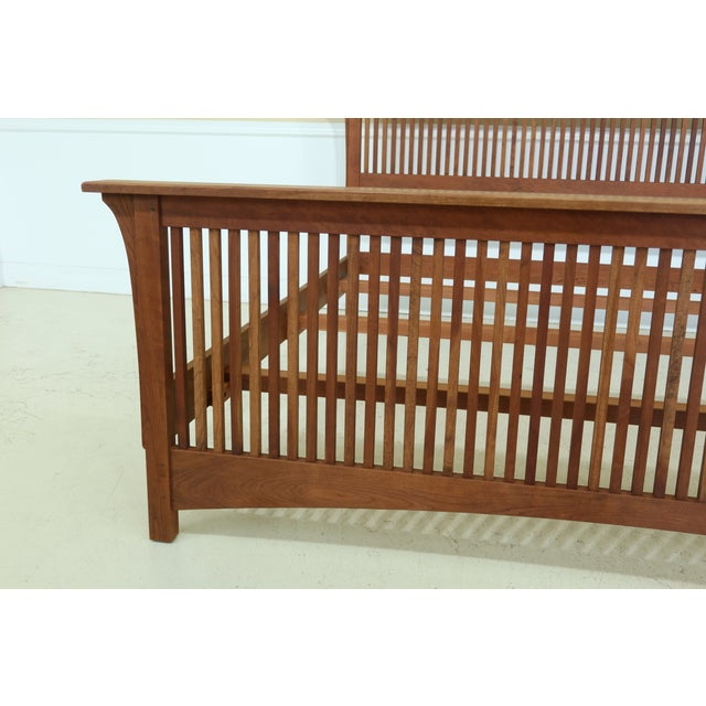 Mission Stickley King Size Mission Cherry Spindle Bed For Sale - Image 3 of 13