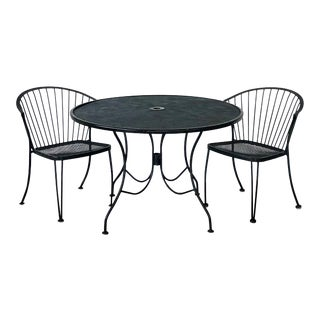 Mid-Century Modern Woodard Pinecrest Wrought Iron Patio Set - 3 Pieces For Sale