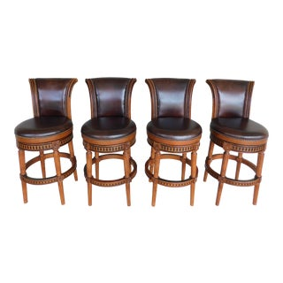 Front-Gate Hawthorne Leather Swivel Stools - Set of 4 For Sale