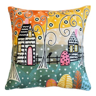"Silk Crewel Floral & City Abstract Feather/Down Pillow 18"" Square For Sale"