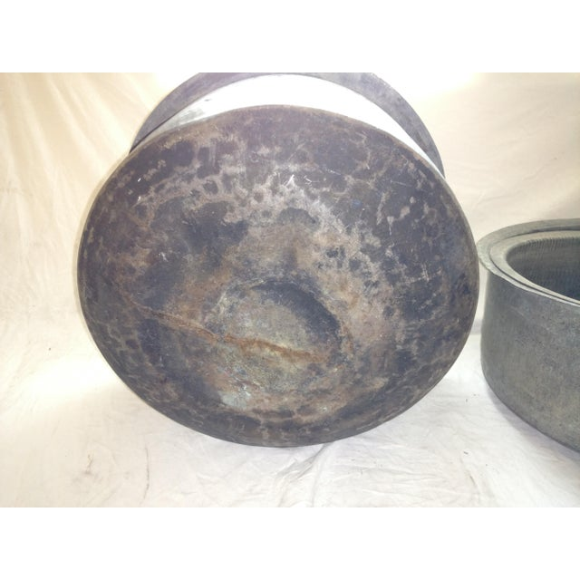 Antique Ceylonese Hammered Metal Copper Bottom Cauldrons - Set of 3 For Sale - Image 10 of 13