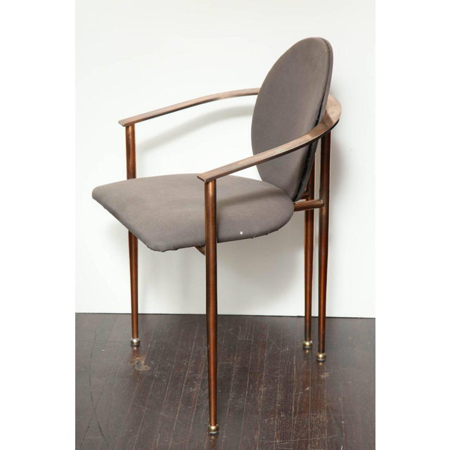 Set of four, 1970s rose gold-plated metal chairs. Price includes refinishing as well as re-upholstery C.O.M.