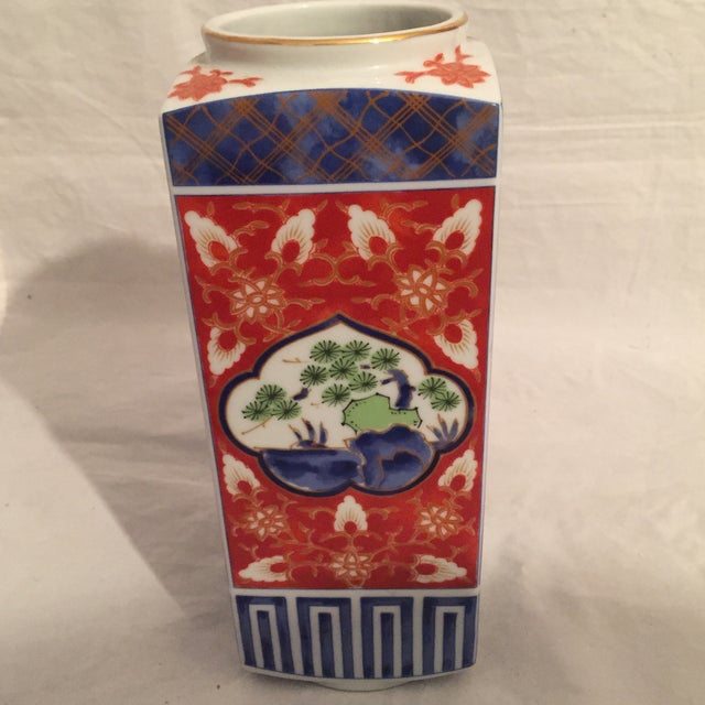1970s Contemporary Japanese Imari Style Porcelain Vase For Sale - Image 5 of 8