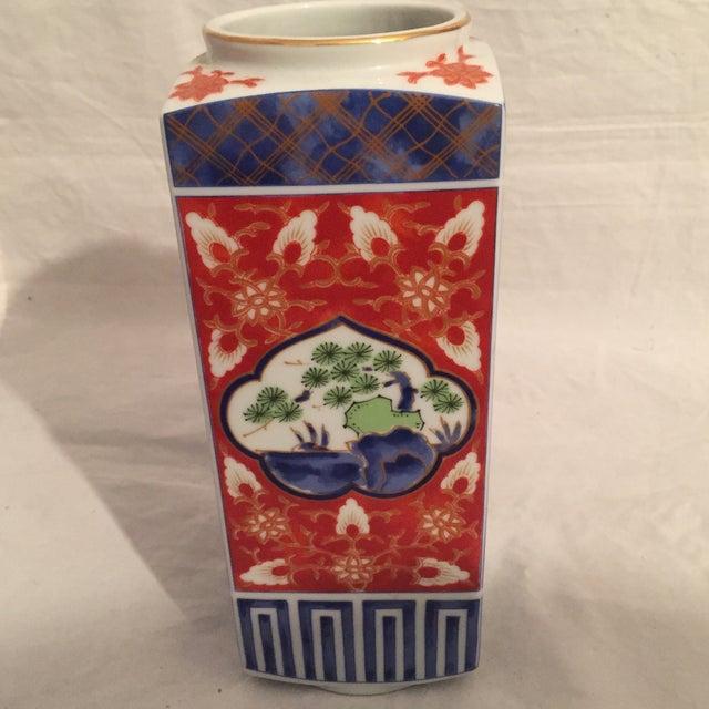 Traditional Japanese Porcelain Column Vase For Sale - Image 5 of 8