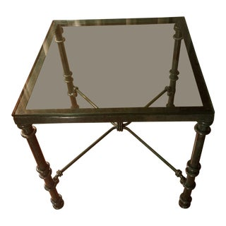 Vintage Glass Top Green Metal Table For Sale