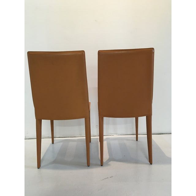 Minimalism Modern Design Within Reach Leather Bottega Dining Side Chairs- A Pair For Sale - Image 3 of 10
