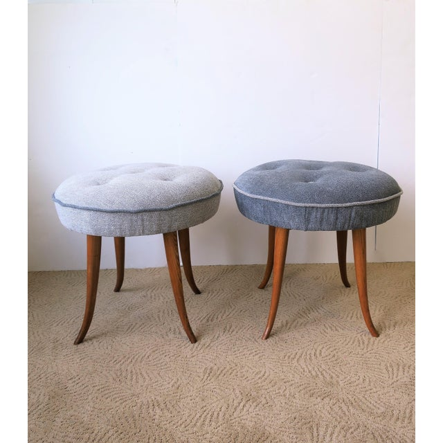 Pair of Austrian Blue Upholstered Stools After Josef Frank For Sale In New York - Image 6 of 13