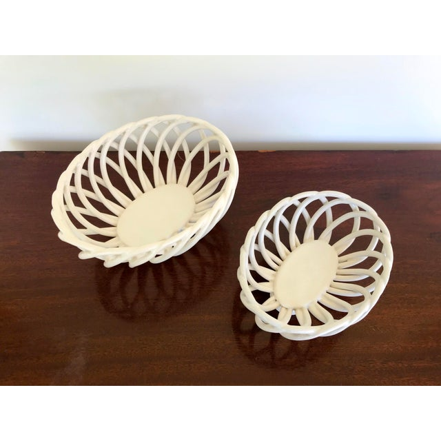 American Mid 20th Century White Ceramic Open Weave Nesting Bowl Set - a Pair For Sale - Image 3 of 9