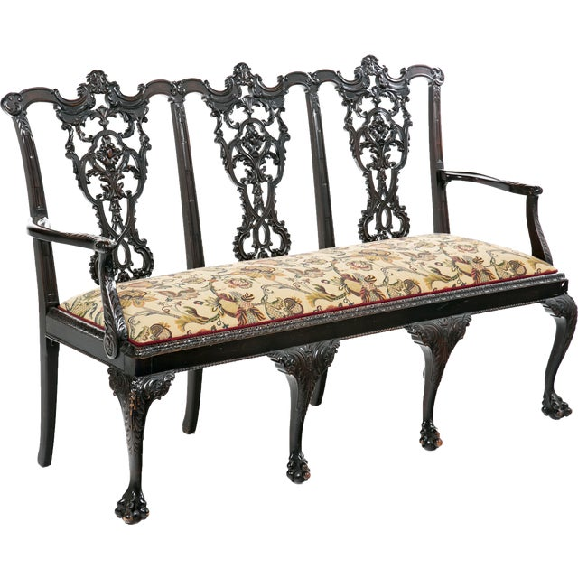 Ribbon Backed Chippendale Settee - Image 9 of 9