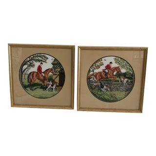 Vintage Framed Equestrian Needlepoint Artwork - a Pair For Sale