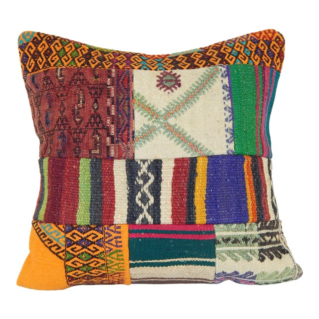 "Vintage Turkish Kilim Pillow Cover 20"" X 20"" For Sale"