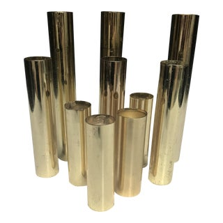 Vintage Mid-Century Brass Graduating Cylinders - Set of 10