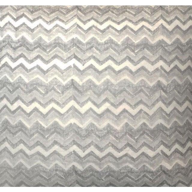Block Printed Chevron Linen Pillow - Image 2 of 2