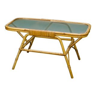 Rectangular Mid Century Rattan and Tortoise Bamboo Coffee Table with Frosted Glass Top