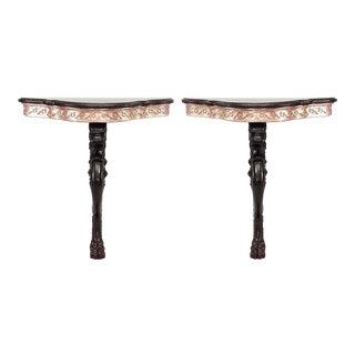 19th Century English Regency Lion Leg Bracket Console Tables - a Pair For Sale
