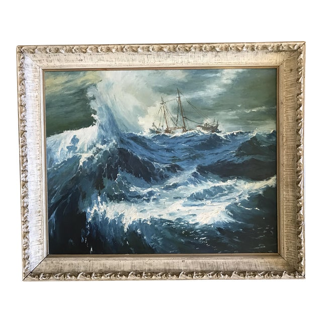 """1963 Bonnie Posselli """"Storm Tossed"""" Nautical Oil Painting - Image 1 of 8"""