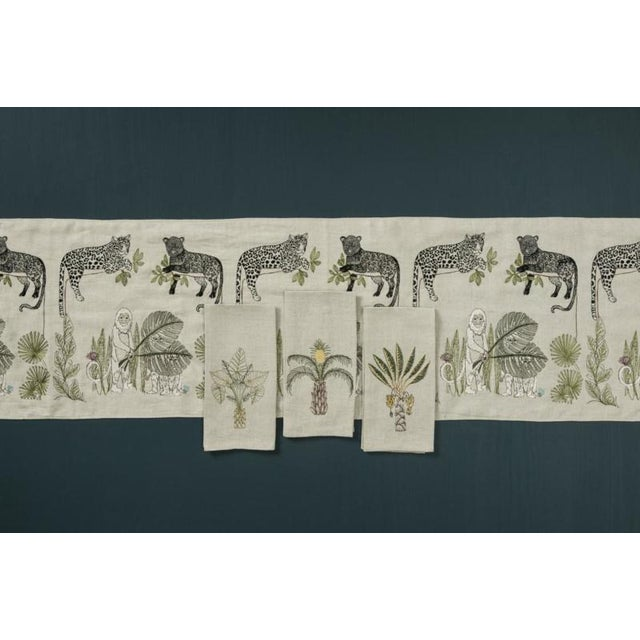 French 2010s French Ecru Linen Pineapple Palm Tree Tea Towel For Sale - Image 3 of 5