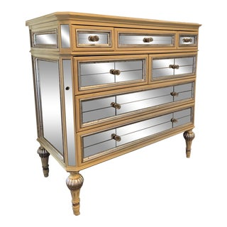 Contemporary Antiqued Mirrored Dresser For Sale
