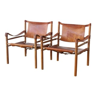 """1950s Vintage Arne Norell """"Sirocco"""" Safari Chairs - a Pair"""