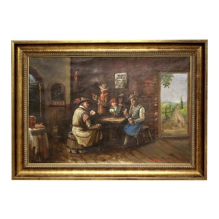 1930s Vintage Signed Oil on Canvas Genre Painting For Sale