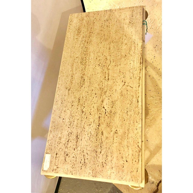 Hollywood Regency Mid-Century Modern Coffee Table Inset Travertine Marble-Top and Brass Stretcher For Sale - Image 3 of 11