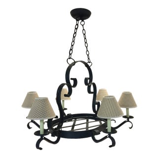 Iron Oval Chandelier With 6 Arms and Shades For Sale