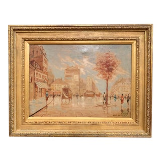 Midcentury French Parisian Scene Oil Painting in Gilt Frame Signed A. Blanchard For Sale