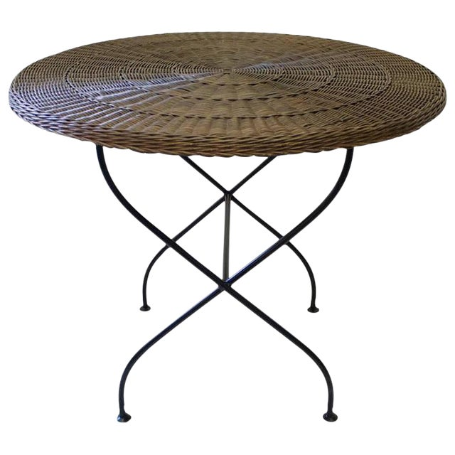 1950s French Rattan Table on Bent Steel Base - Image 1 of 3
