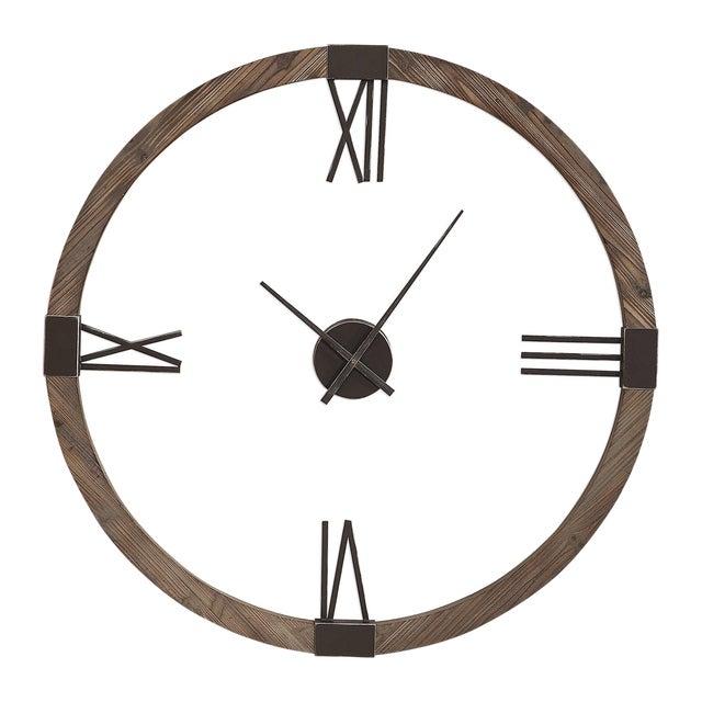 Fir Wood Wall Clock For Sale