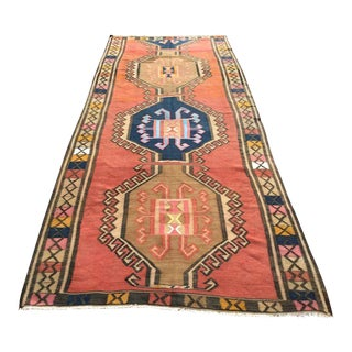 "Vintage Turkish Kilim Rug - 5'2"" X 13'2"""