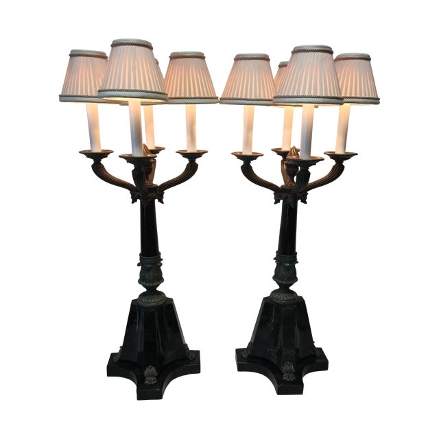 Bronze & Green Marble Candelabra Lamps - Pair - Image 1 of 8