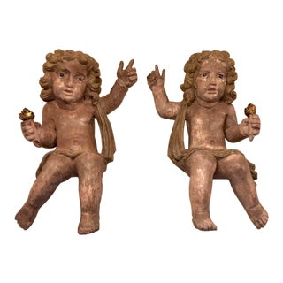 Mid 20th Century Italian Baroque Carved Wood Cherubs or Putti - a Pair For Sale