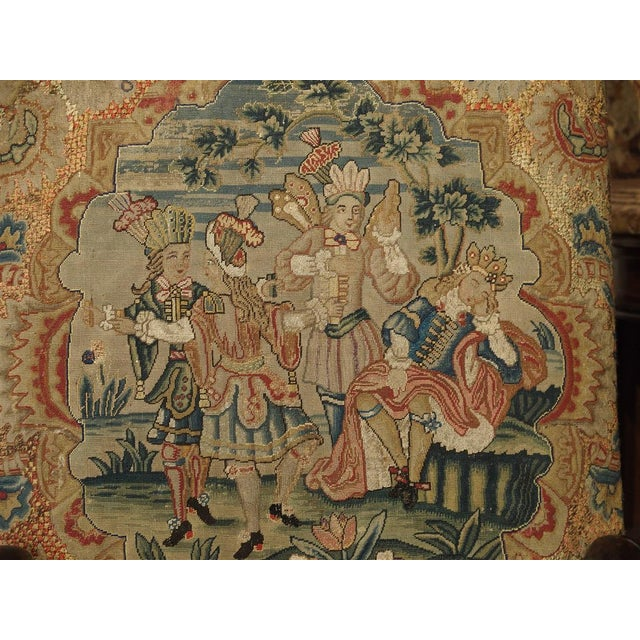 17th Century French Walnut and Saint-Cyr Tapestry Armchairs - a Pair For Sale - Image 12 of 13