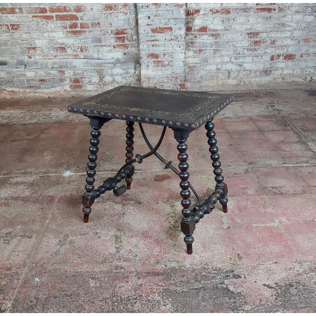Mediterranean 18th Century Spanish Revival Leather Top Trestle Occasional Table For Sale - Image 3 of 11