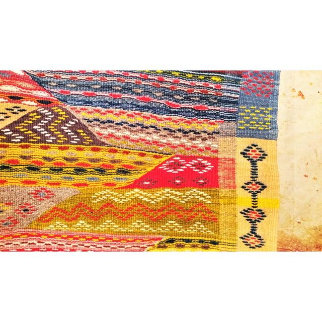 """Moroccan Zanafi Tribe Berber Wool Kilim Area Rug 76.5"""" x 42"""" - Image 3 of 7"""