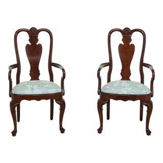 Pair Ethan Allen Georgian Court Cherry Arm Chairs For Sale