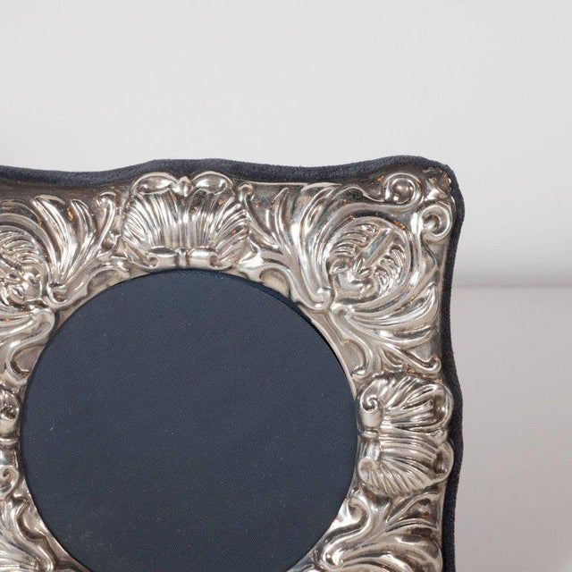 19th Century British Sterling Silver Picture Frame with Repoussé Baroque Designs For Sale - Image 4 of 8