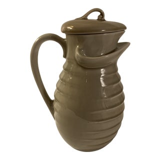 Mid-Century Modern Ceramic Pottery Pitcher With Lid For Sale