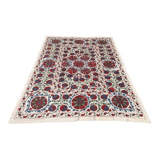 Red and Bue Suzani Bedspread / Tablcloth With Cloves and Pomegranates For Sale