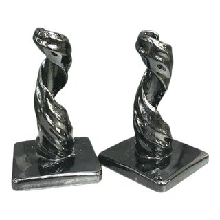 1960s Black Glass Swirled Candlesticks - a Pair For Sale